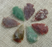 7 green with red multi colors reproduction arrowheads ks585